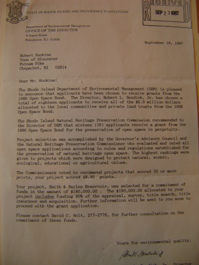 1987 letter to Bob Huckins indicating the committment of the State of Rhode Island and Providence Plantations to the dispersal of $180,000 for protection of lands.