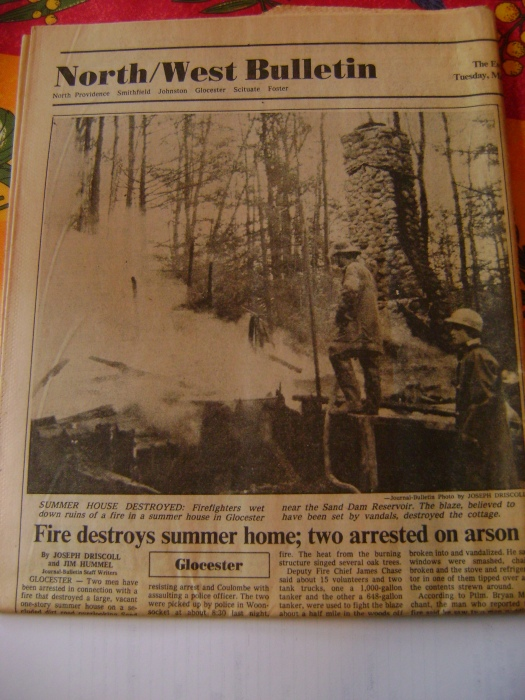 Providence Journal newspaper article with photographs of Chet Worthington's cottage.  The smoking remains were all that was left after two local teenagers burned it down.