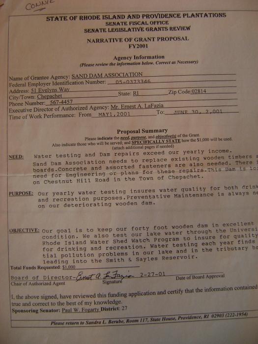 Copy of narrative for the 2001 water testing grant:  Senate Fiscal Office, Senate Legislative Grants Review