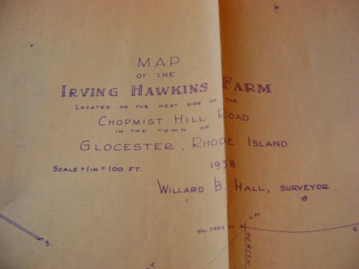 Map: Irving Hawkins Farm.  Located on the west side of Chopmist Hill Road in the town of Glocester, Rhode Island, 1938.  Willard B. Hall, Surveyor.