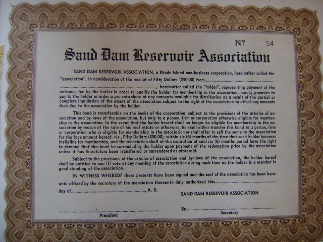 membership certificate bonds, era 1962