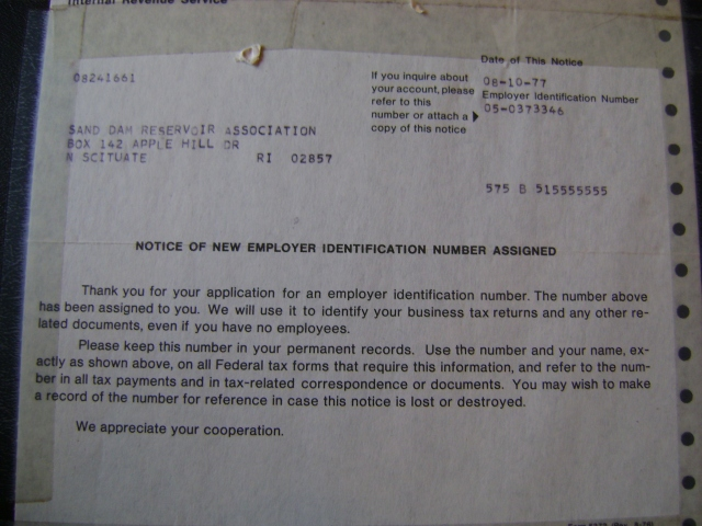 "IRS ""Notice of New Employer Identification Number Assigned,"" 08-10-77, 575 B 5155555"
