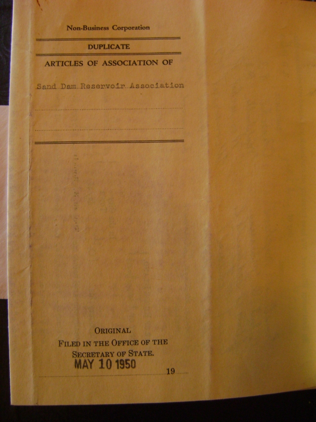 Articles of Assocation of Sand Dam Reservoir Association