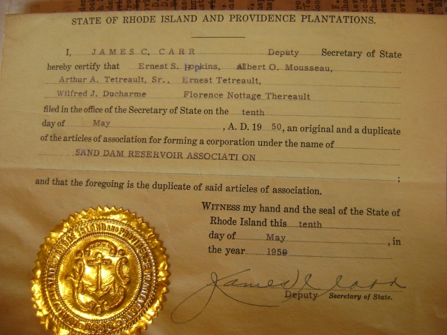 acknowledgement from the State of Rhode Island and Providence Plantations, Secretary of State, that Ernest S. Hopkins, Albert O. Mousseau, Arthur A. Tetrault, Wilfred J. Duchame, and Florence Nottage Therault filed on May 10, 1950 articles of association for forming a corporation in the name of Sand Dam Reservoir Association